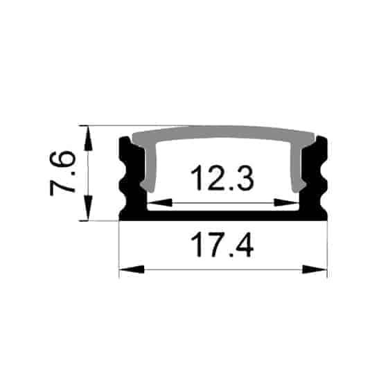 Alu Profil, 1 meter, 7x17mm med cover og tilbehør | LEDhome.dk