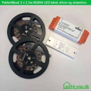 Pakketilbud - 2 x 2.5m RGBW LED bånd, ZigBee driver og strømforsyning - LPT-2   LEDHome.dk