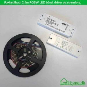 Pakketilbud - 2.5m RGBW LED bånd, ZigBee driver og strømforsyning - LPT-1   LEDHome.dk