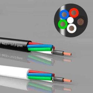 4+1 Hvid LED kabel til RGBW LEDbånd, pr. meter | LEDhome.dk