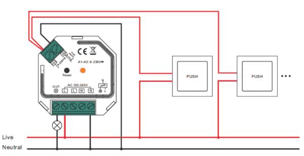 Universal switch 1ch koblings skema
